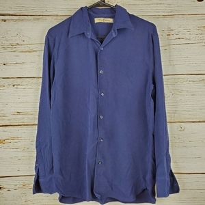 Tommy Bahama Navy Blue Silk Button Down Shirt